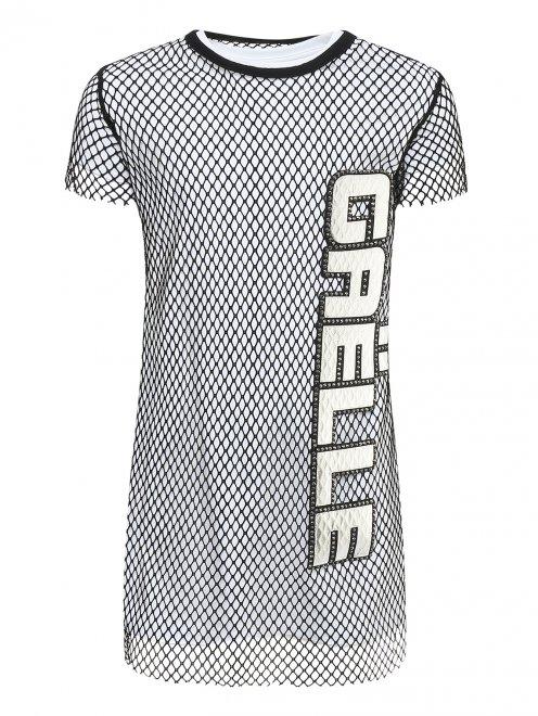 Платье трикотажное с накидкой - Общий вид