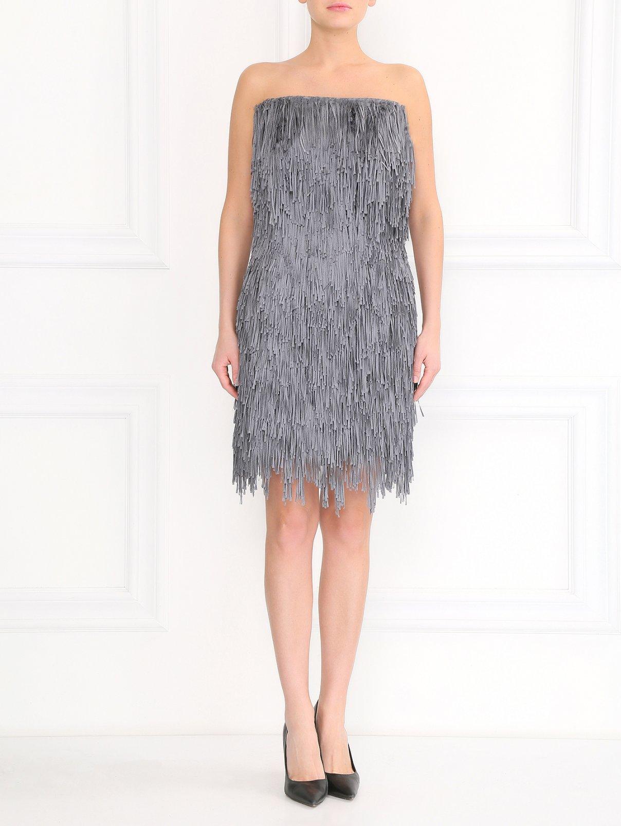 Платье-мини из шелковой бахромы Alberta Ferretti  –  Модель Общий вид