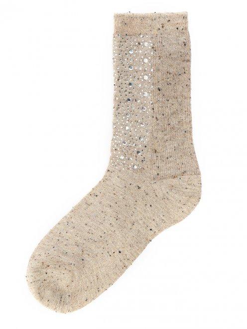 Носки из хлопка декорированные стразами - Общий вид