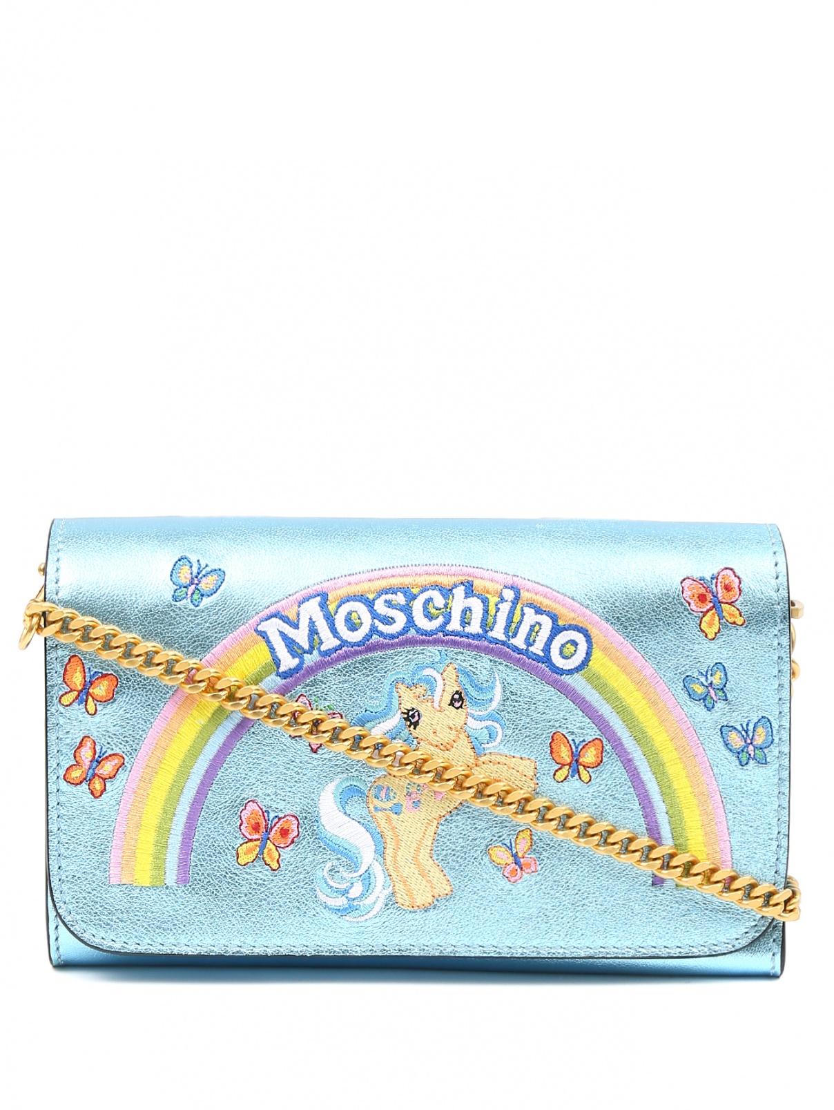 Клатч из кожи с вышивкой Moschino Couture  –  Общий вид  – Цвет:  Синий