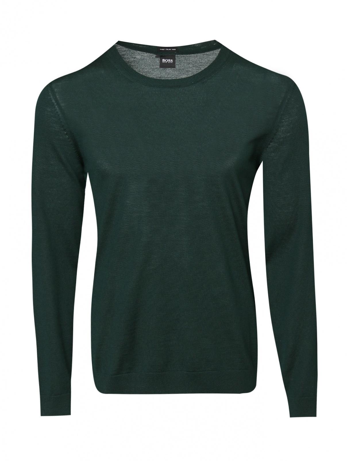 Джемпер однотонный из шерсти BOSS  –  Общий вид  – Цвет:  Зеленый