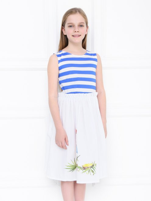 Платье трикотажное с полосатым верхом - МодельВерхНиз