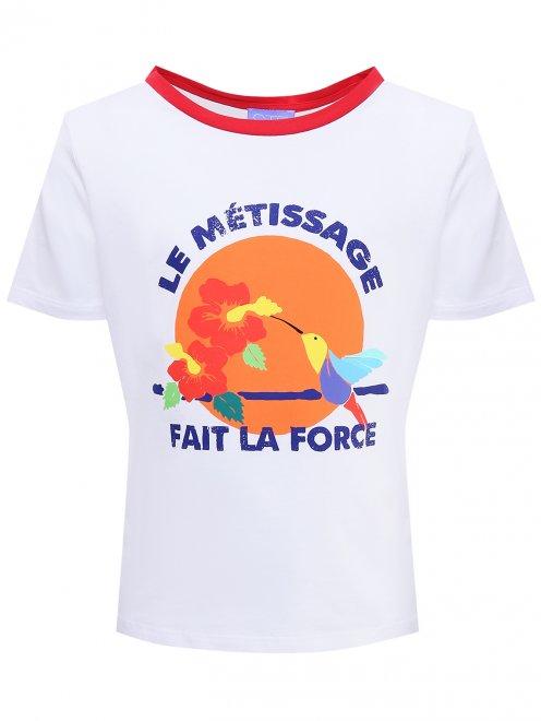 Хлопковая футболка с принтом - Общий вид
