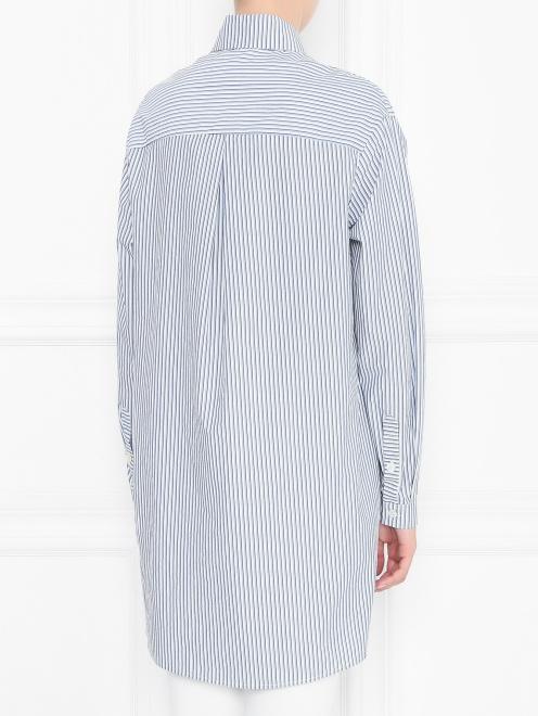 """Удлиненная рубашка из хлопка с узором """"полоска"""" - МодельВерхНиз1"""