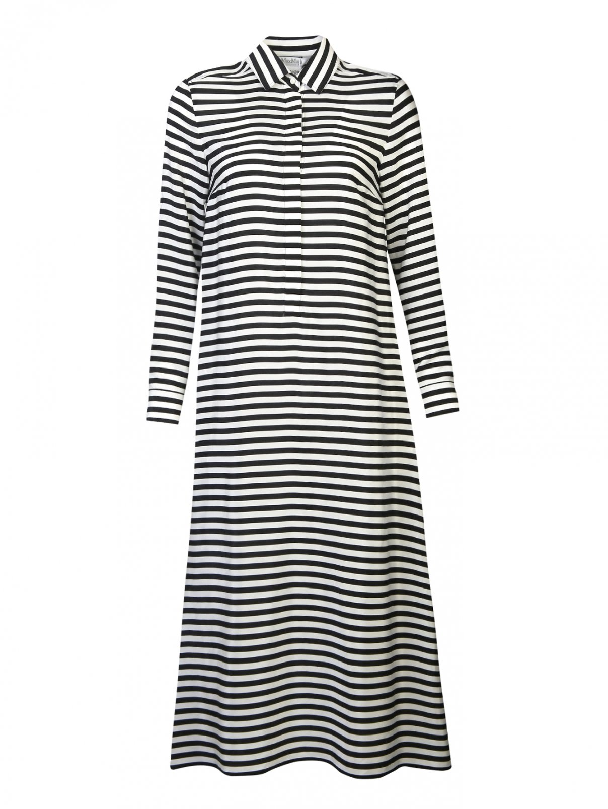 Платье-рубашка из шелка в полоску Max Mara  –  Общий вид