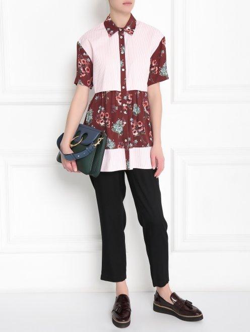 Блуза из хлопка и вискозы с контрастными вставками - Общий вид