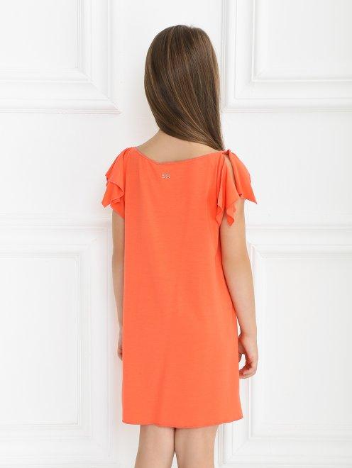 Трикотажное платье-мини с декором - Модель Верх-Низ1