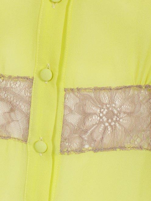 Шелковая блуза с кружевной вставкой - Деталь