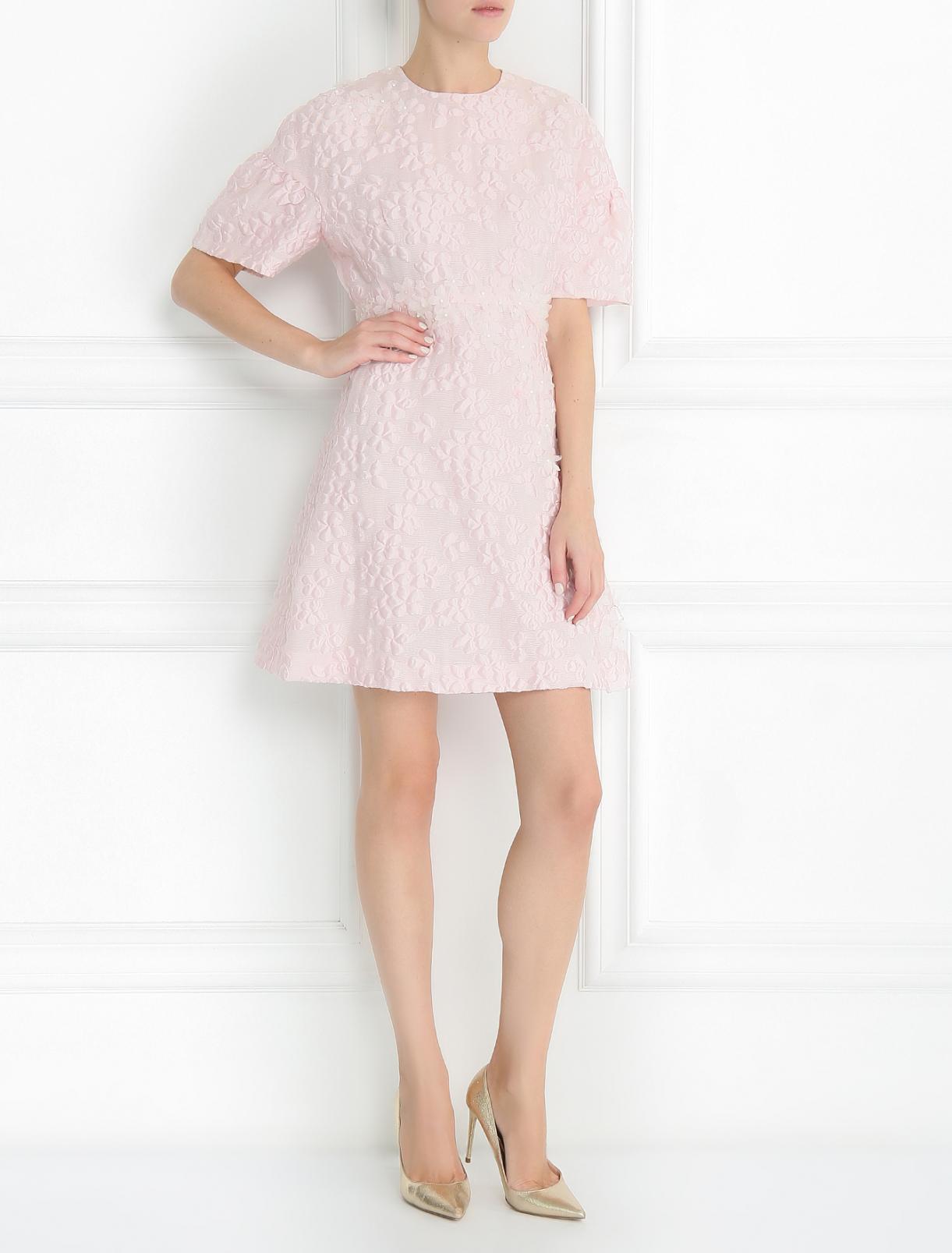 Платье-мини с коротким рукавом и декоративной отделкой Giambattista Valli  –  Модель Общий вид  – Цвет:  Розовый