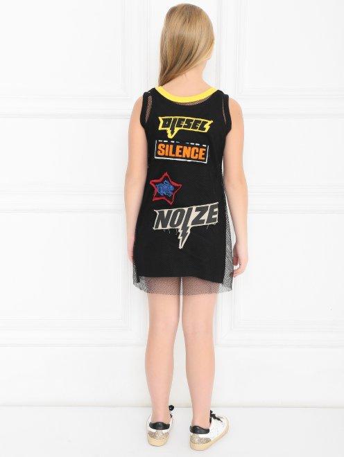 Платье-мини с сетчатым слоем - МодельВерхНиз1