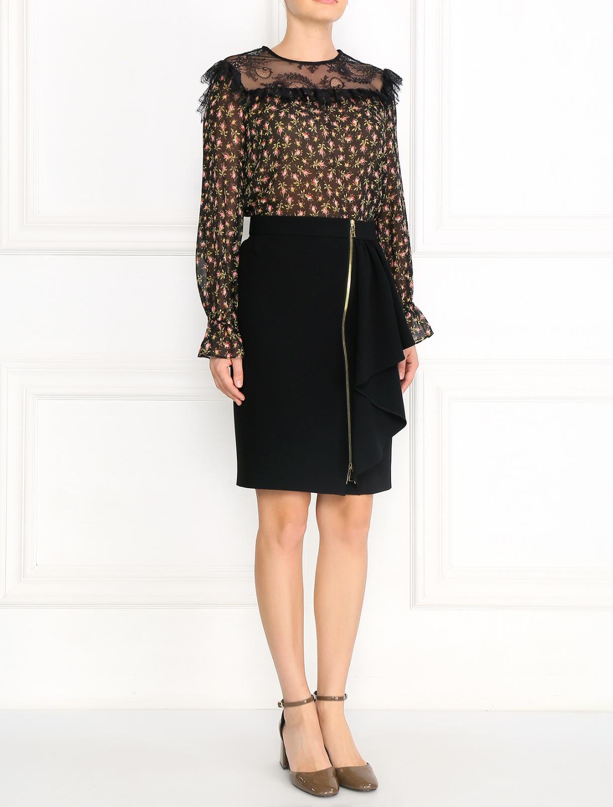 Блуза из шелка с цветочным узором и кружевной отделкой Philosophy Di Lorenzo Serafini  –  Модель Общий вид  – Цвет:  Узор
