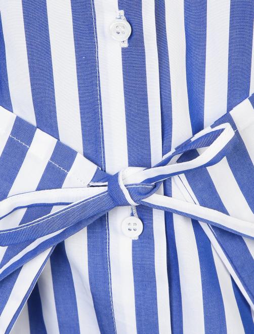 Блуза из хлопка в полоску с контрастным воротником - Деталь1
