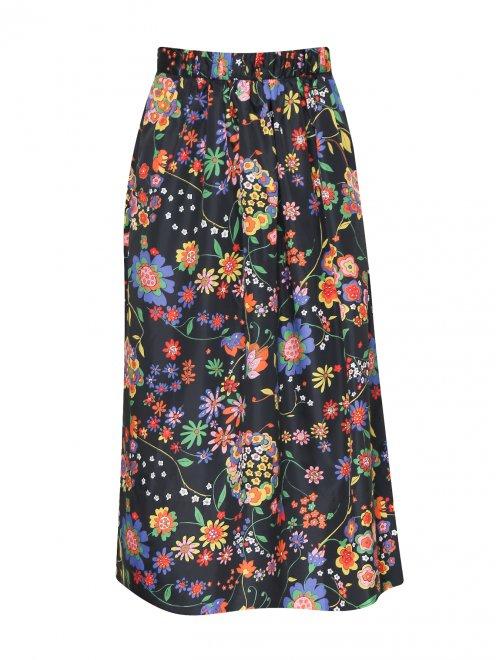 Юбка-миди с цветочным узором - Общий вид