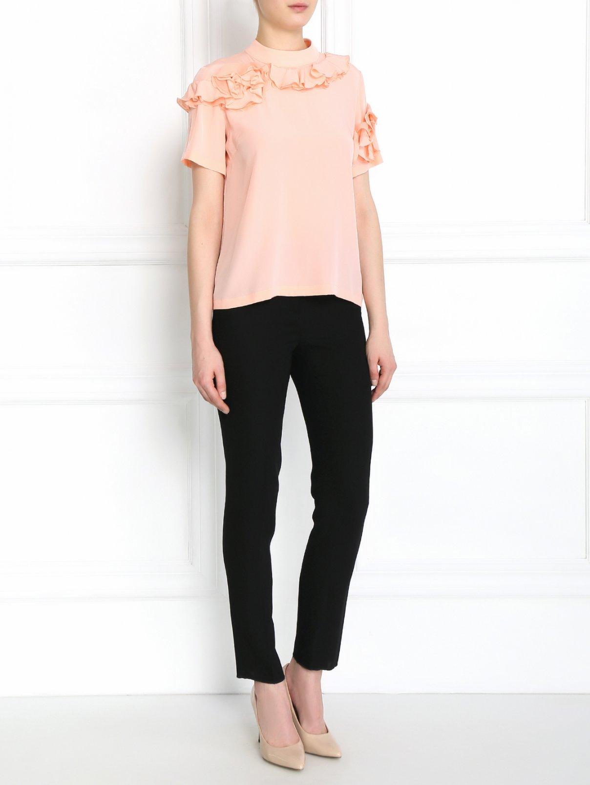 Блуза из шелка с декором Rossella Jardini  –  Модель Общий вид  – Цвет:  Розовый