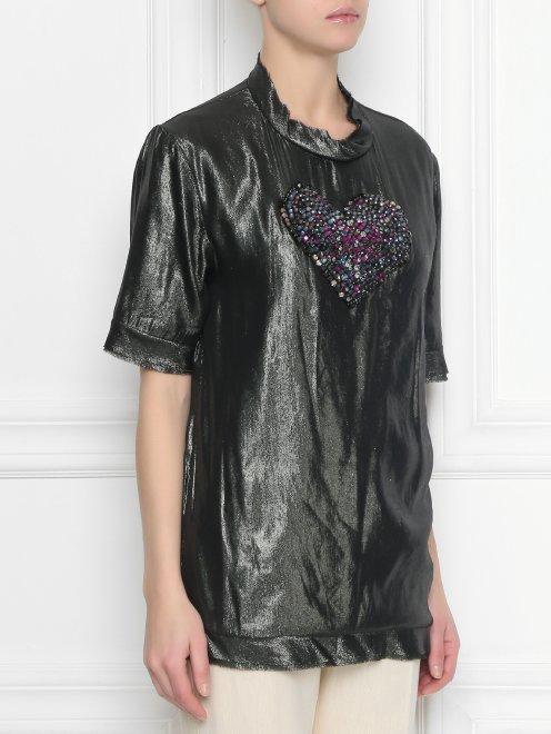 Шелковая блуза, декорированная стразами - МодельВерхНиз