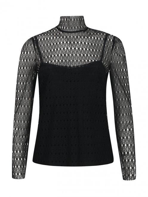 Ажурная блуза с длинными рукавами - Общий вид